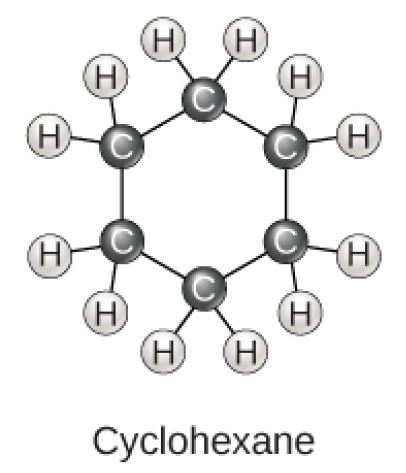 Cyclohexane is a ring of six carbons, each with two hydrogens attached.