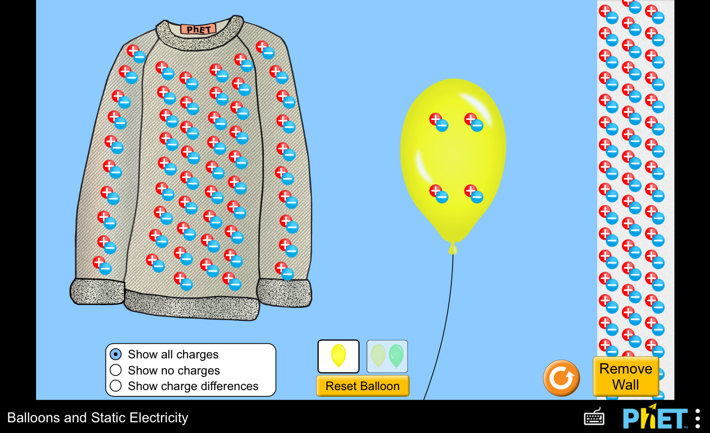 Screenshot: Phet Simulation - Ballons and Static Electricity.  Sweater with number of + / - balls representing protons and electrons on the shirt.  Ballon with a few + / - balls  on it, and a wall with a large number of + / - balls.