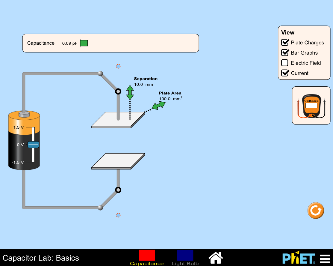 Screenshot: Phet Simulation - Capacitor Lab: Basics. Adjustable voltage for a batery connected to two plates where you can adjust the separation of the plates in mm and the Plate Area.  Output shows the Capacitance in pF.  Various options for the view, plate charges, Bar graphs, electric field, current and a volte meter.