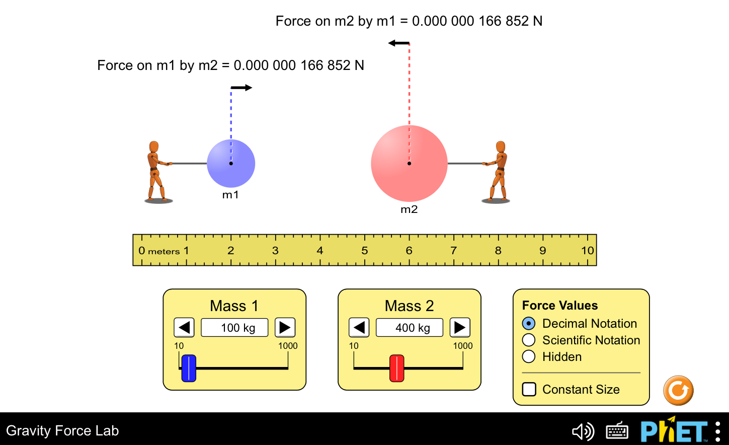 Screenshot: Phet Simulation - Gravity Force Lab.  Two human shaped figures pulling on a large ball where you can adjust the masses in hundereds of kilograms and see the resulting force applied.