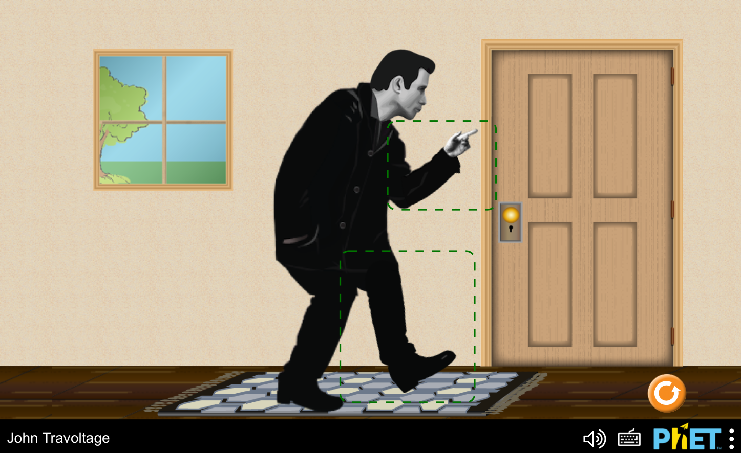 Screenshot: Phet Simulation - John Travoltage.  Animated character representation of John Travolta on a rug near a metal doorknob, with boxes around his hand and leg/foot.